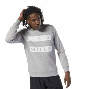 Reebok LES MILLS™ Men's Studio Fleece Crew Sweatshirt in Grey