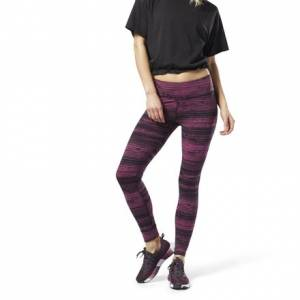 Reebok Women's Training Lux Tights - Stratified Stripes in Twisted Berry