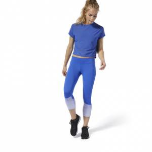 Reebok CrossFit® Lux Fade 3/4 Women's Training Tights Leggings in Blue