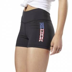 Reebok Women's Training Lux Bootie Shorts - USA Graphic in Black