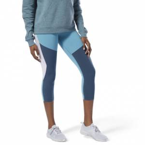 Reebok Lux 3/4 Tights Women's Training leggings in Mineral Mist Blue