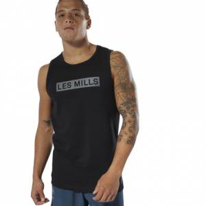 Reebok LES MILLS® Perforated Men's Studio Tank Top in Black