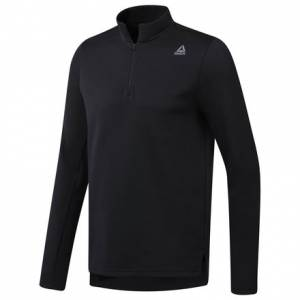 Reebok WOR Mélange Doubleknit Men's Training Quarter-Zip Sweatshirt in Black