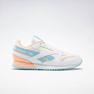 Reebok Unisex Retro Running Shoes Classic Leather Ripple in White / Neon Blue
