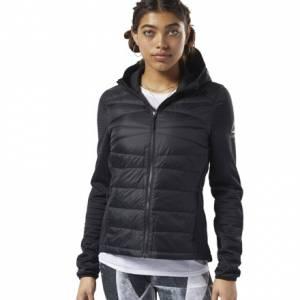Reebok Women's Outerwear Thermowarm Hybrid Down Jacket in Black
