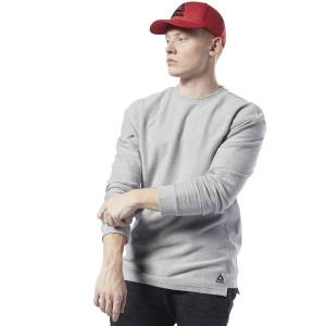 Reebok Training Essentials Men's Twill Crew Sweatshirt in Grey