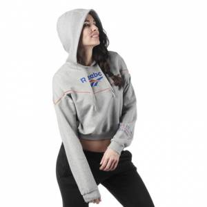 Reebok Classic Logo Women's Lifestyle Hoodie in Medium Grey Heather