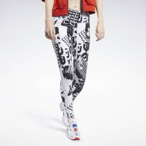 Reebok Meet You There Allover Print Women's Leggings in White / Black