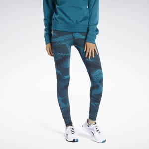 Reebok LUX Tights 2.0 - GEO Static Women's Training Leggings in Teal