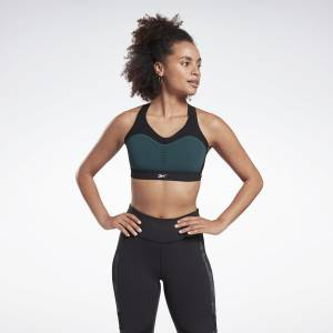 Reebok LES MILLS® Puremove Women's Studio Sports Bra in Black / Green