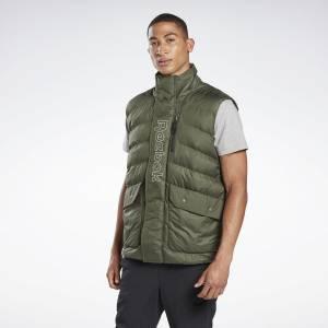 Reebok Men's Outerwear Puffa Vest in Poplar Green