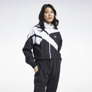 Reebok Women's Classics Vector Cropped Track Jacket in Black