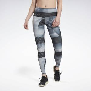 Reebok Women's Running Lux Bold Tights in Black / Grey
