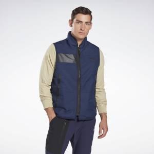 Reebok Men's Outerwear Core Sherpa Woven Vest in Navy