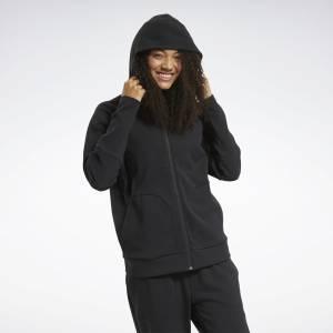 Reebok Women's Training Quik Cotton Full-Zip Hoodie in Black