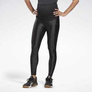 Reebok Women's Studio Shiny Maternity Tights in Black