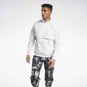 Reebok MYT Men's Training Quilted Half-Zip Jacket in White