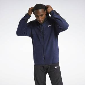 Reebok Workout Ready Men's Training Fleece Zip-Up Jacket in Navy