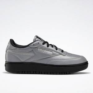 Reebok Women's Club C Double Court Shoes in Matte Silver / Black