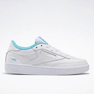 Reebok Women's Club C 85 Court Shoes in White / Neon Blue
