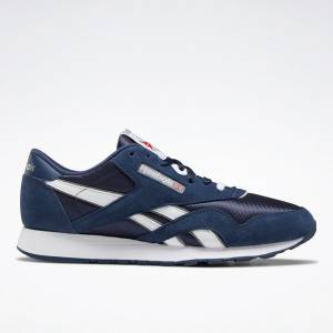 Reebok Classic Nylon Men's Retro Running Shoes in Navy