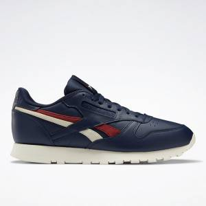 Reebok Unisex Classic Leather Lifestyle Shoes in Navy