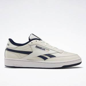 Reebok Men's Club C Revenge Court Shoes in Chalk White / Navy