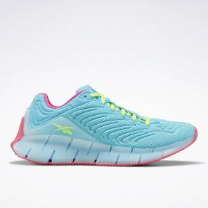 Reebok Zig Kinetica Grade School Kids Lifestyle Shoes in Neon Blue