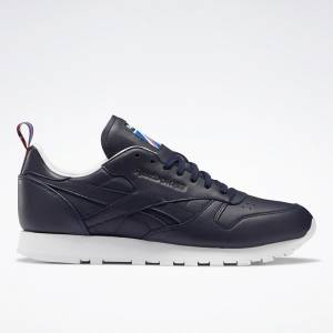 Reebok Unisex Classic Leather Running Shoes in Navy