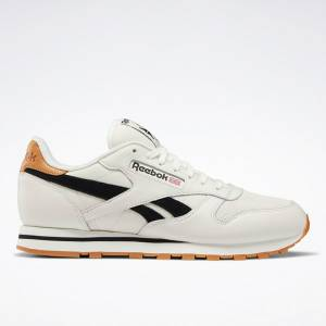Reebok Classic Men's Leather Running Shoes in Chalk / Black