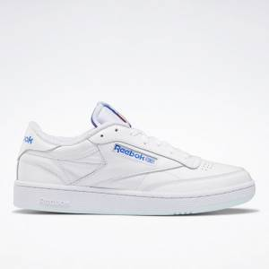 Reebok Men's Club C 85 Court Shoes in White / Blue