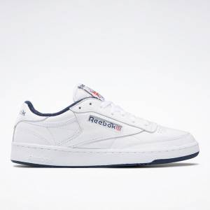 Reebok Club C 85 Men's Court Shoes in White / Navy