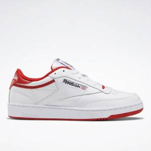 Reebok Club C 85 Men's Shoes in White / Red