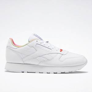 Reebok Unisex Classic Leather Pride Retro Running Shoes in White