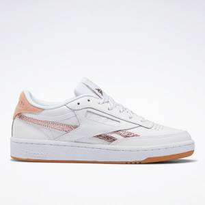 Reebok Women's Club C 85 Court Shoes in White / Blush Metal