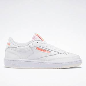 Reebok Women's Club C 85 Court Shoes in White / Orange Flare