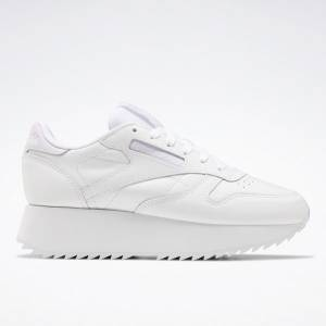 Reebok Classic Leather Double Women's Running Shoes in White / Lilac