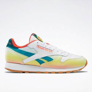 Reebok Classic Leather - FP Men's Running Shoes in White / Orange / Yellow
