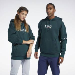 Reebok Unisex LES MILLS® DreamBlend Cotton Studio Hoodie in Green