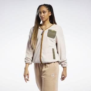Reebok Classics Women's Polar Fleece Zip-Up Jacket in Soft Ecru