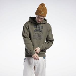 Reebok Unisex Classics Camping Graphic Hoodie in Army Green