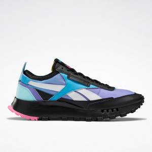 Reebok Unisex Classic Legacy Lifestyle Shoes in Black / Purple