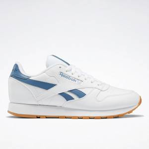 Reebok Unisex Classic Leather Vegan Lifestyle Shoes in White / Blue