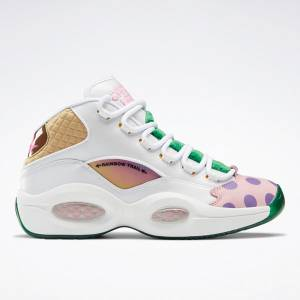 Reebok Unisex Candy Land Question Mid Basketball Shoes in White / Pink