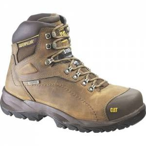 CAT Diagnostic Hi Waterproof Work Boot - Men - Dark Beige