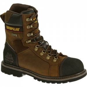 "CAT Tracklayer 8"" Waterproof Steel Toe Work Boot - Men - Dark Brown"