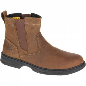 CAT Inherit Pull On Steel Toe Work Boot - Men - Brown