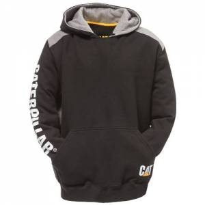 CAT LOGO PANEL HOODED SWEATSHIRT - Men - Black