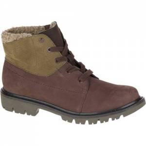 CAT Fret Fur Waterproof Boot - Women - Coffee Bean / Dark Olive