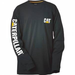 CAT Trademark Banner Long Sleeve Tee - Men - Black